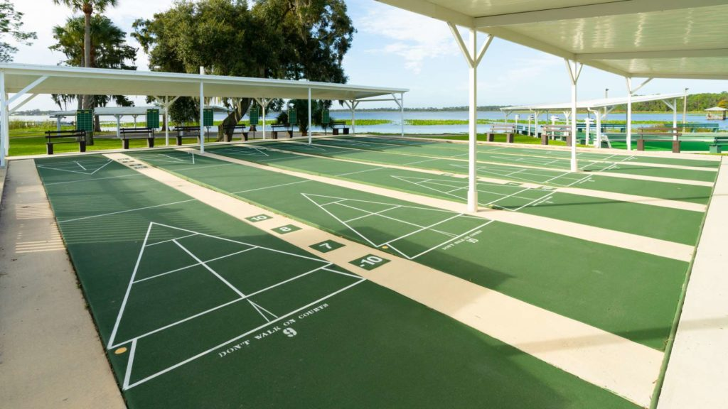 Buttonwood Bay 55+ RV Resort, Rentals and Manufactured Homes Community Shuffleboard Courts in Sebring, FL