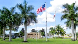 Indian Creek 55+ RV Resort and Manufactured Homes Community Entrance Sign in Ft. Myers Beach, FL