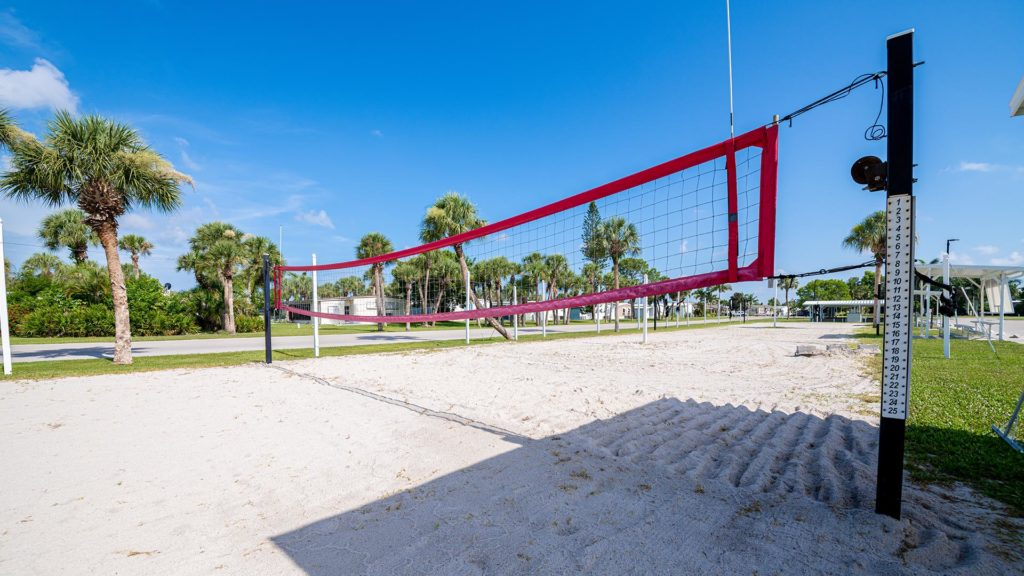 Indian Creek 55+ RV Resort and Manufactured Homes Community Sand Volleyball in Ft. Myers Beach, FL