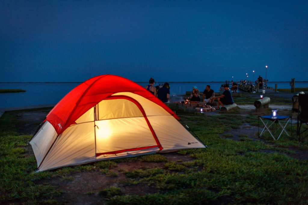 tent sites and campfire by beach