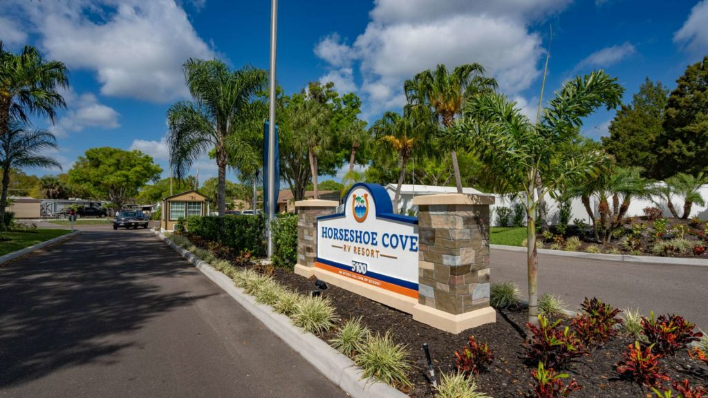 Horseshoe Cove 55+ RV Resort and Manufactured Homes Community Entrance Sign in Bradenton, FL