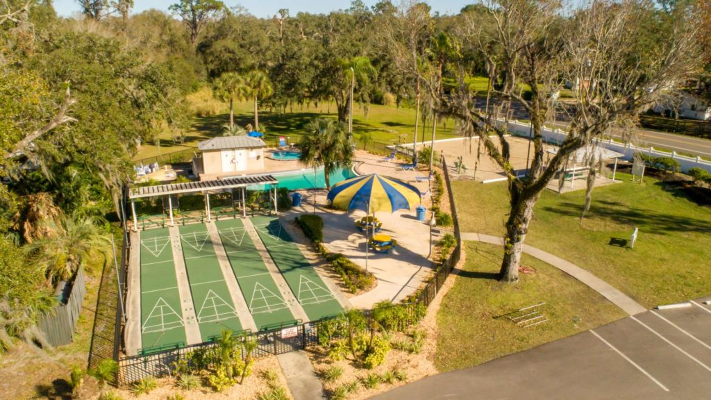 Tampa East RV Resort and Vacation Rentals Shuffleboard Courts in Dover, FL