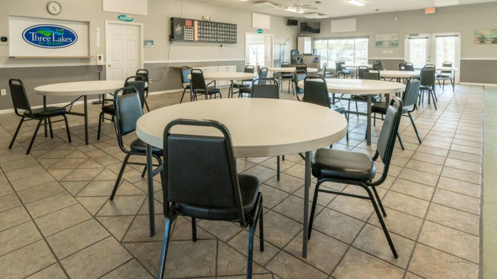 Three Lakes RV Resort and Vacation Rentals Clubhouse Interior in Hudson, FL