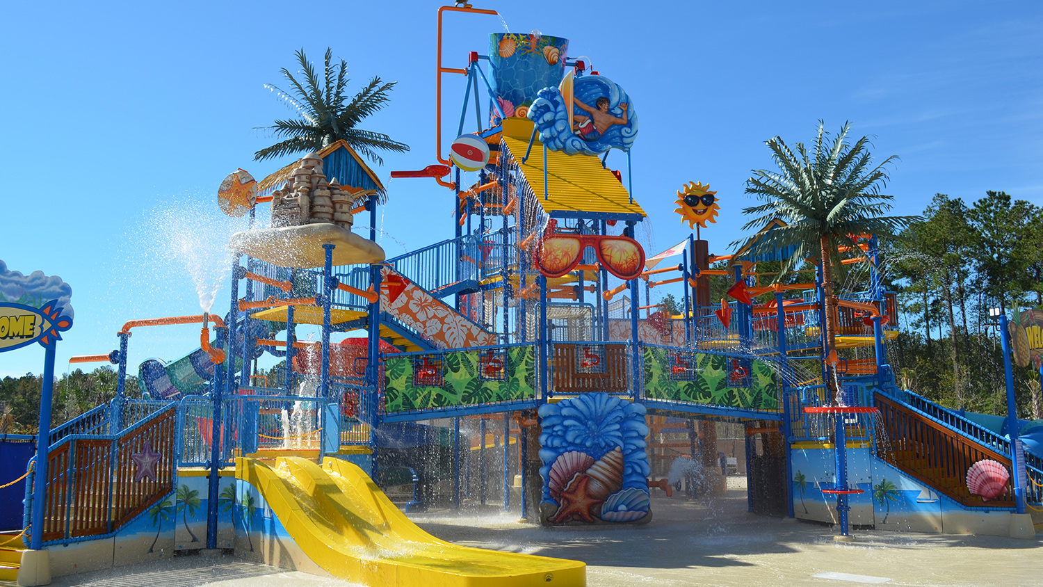 Carolina Pines RV Resort Splash Water Park Slide in Conway, SC
