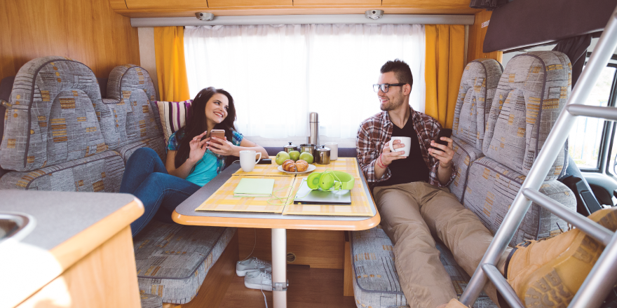 Couple Relaxing in RV