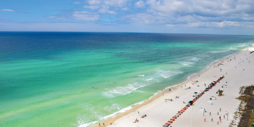White Sand Beaches and Turquoise Ocean in Panama City Beach Florida