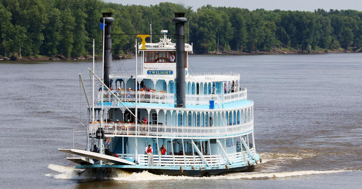 Twilight Riverboat Steam Ship on the Mississippi River in LeClaire Iowa