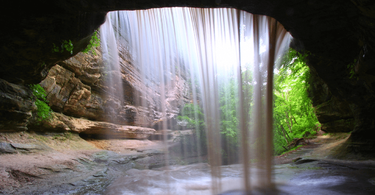 Canyon View from Behind a Waterfall at Starved Rock State Park in Illinois